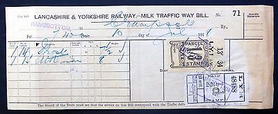 THEMATICS Railways GB 1918 - 1/3 L.Y. Railway Parcel Stamp Milk Tariff XZ307