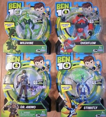 Ben 10 OVERFLOW , STINKFLY, WILDVINE, DR ANIMO Action Figures Lot of 4 New 2017