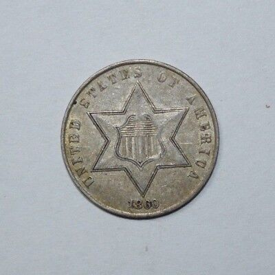 1860 3 Cent Silver Piece  type 3  4p
