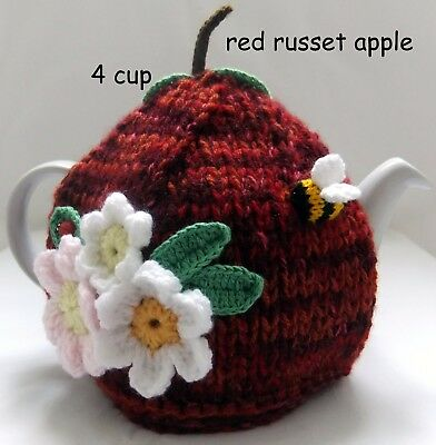 Hand-knitted-crochet- Red Russet Apple - 4 cup - Tea Cosy