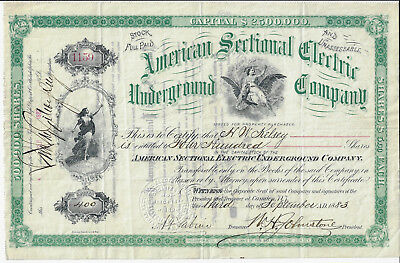 NEW JERSEY 1883 American Sectional Electric Underground Co Stock Certificate