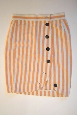 Vintage Yves St Laurent skirt in peach and white stripes - excellent condition