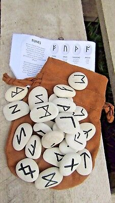 FairTrade Hand Made Pagan Rune Stones Wicca Pagan Witchcraft Pentacle Divination