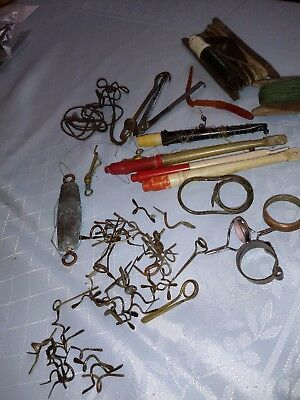 Large Collection of Vintage Fishing Equipment Floats, Line, Winders, Rod Spares