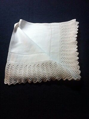Large vintage damask / huckaback towel with hand knitted trim either end.