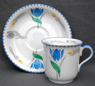 Shelley Art Deco Tulips Coffee Cup & Saucer