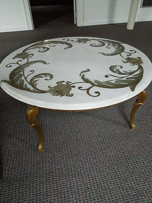 "Antique, etched, marble top, 36""round, coffee table, heavy, bronze/brass legs"