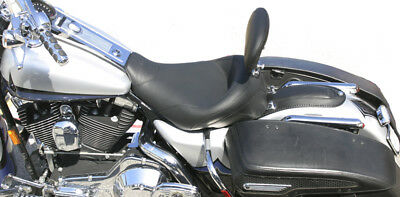 Mustang Wide Touring Smooth Solo Seat w/ Driver Backrest for 1997-2007 Harley