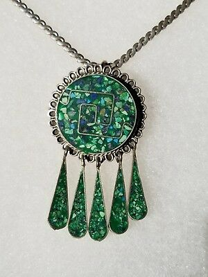 VINTAGE Mexico INLAID TURQUOISE Sterling Silver PENDANT / PIN  Rare JEWELRY