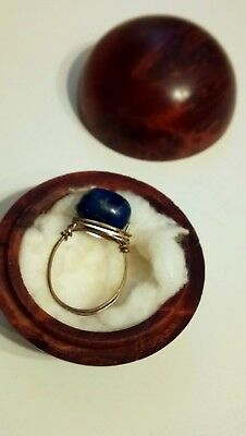 Unique Antique Lapiz Lazuli Ring in a Unique Walnut box.