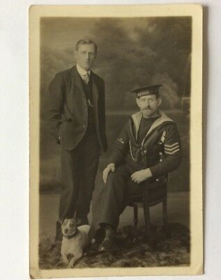 vintage postcard, WW1, Royal Navy, sailor, HMS Vivid, medals, dog,Faversham