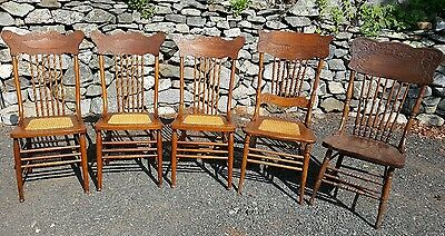 5 Antique Dining Chairs: Solid Oak w/ Carved Spindles and Seat Backs and MORE...