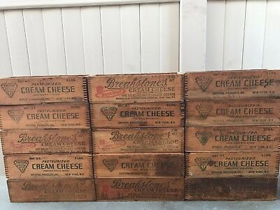 15 Antique Primitive Wood Dovetailed Cheese boxes Crates Breakstone Daitch N.Y.