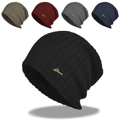Winter Slouch Oversized Stocking Beanie Solid Knit Hat Fur Lined Ski Skull  Cap 1c26e76c490