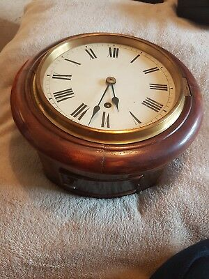 W & H Rare Antique Victorian Wall Station Clock