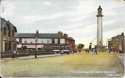 Old Postcard Of The Tram Terminus And Lighthouse Fleetwood