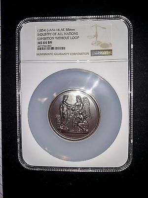 (1854) Exhibition of the Industry of All Nations, J-AM-16, 58 mm, NGC MS 64 BN