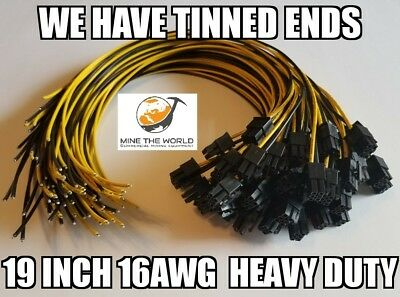 50 Heavy-Duty 50cm PCI-E Power Cables for Antminer S9 D3 L3 Avalon Tinned Ends