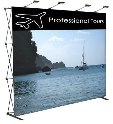 """10 Ft. PopUp Exhibit Booth Frame, 4 Lights, and Case 117""""W & 89.3""""T"""