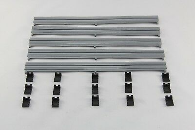 Scalextric Accessories - C8212 - Silver Barriers X5 And Clips X15