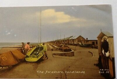 Vintage colour postcard The Foreshore Sandilands and small boat