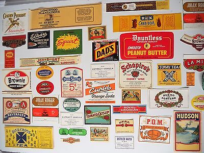 Lot of 42 vintage USA food and beverage labels UNUSED Look good as decor