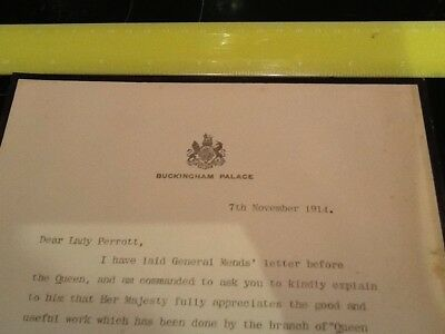 1914 Letter From Buckingham Palace To Lady Perrott St Johns Ambulance, V.A.D.
