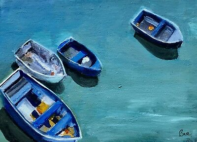 St Ives Boats, Cornwall. Original Oil Painting