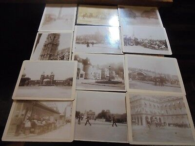Vintage Antique Cabinet Style Photos X 12 France? Street Scenes
