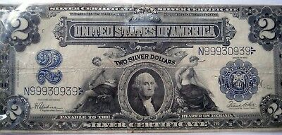 1899 $2 Silver Certificate    LARGE    *Nice Specimen  *No Rips or Holes