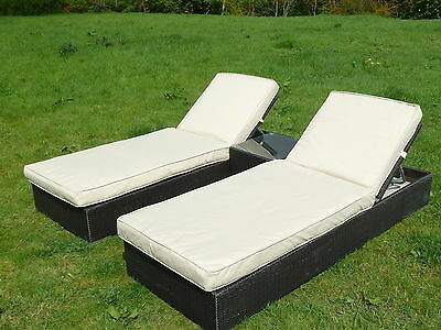 Marbella Rattan Wicker Sunlounger Set, Two Luxury Loungers, 10cm Cushions, Table