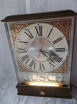 Retro Vtg Busch Beer Sign Lighted Wall Clock Light - Anheuser Busch