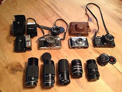 Canon Ae-1 , Yashica Fx-3 , Kalimar With A Bunch Of Lenses Lot