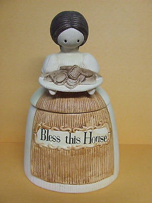 """Vintage Corn Husk Doll/Lady """"Bless This House"""" Cookie Jar by Manler (1973)"""