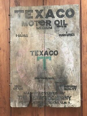 Rare ANTIQUE TEXACO MOTOR OIL WOOD CRATE SIDE PANEL Box Motor Oil Can Sign Gas