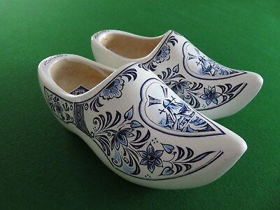 DUTCH WOODEN BLUE & WHITE CLOGS - MADE IN HOLLAND 18cms