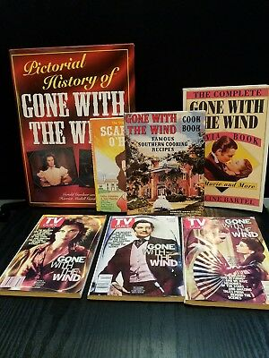 """Lot of """"Gone With The Wind"""" Books, TV Guide, Trivia Book, Cook Book, Etc."""