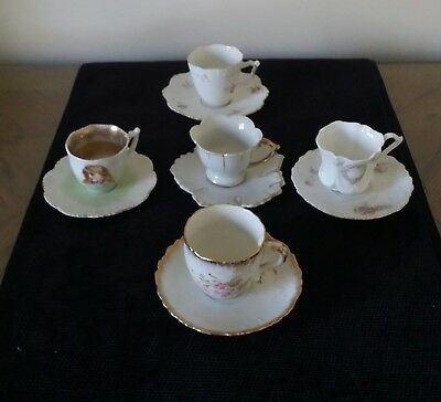 Antique Lot 5 Demitasse Cup/saucer Sets Hand Painted Various Designs & Countries