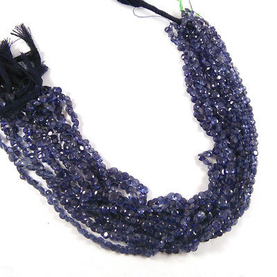 """30.6 Cts 4-5Mm Natural Iolite Faceted Diamond Cut Gemstone 5 Strand 12.5"""" Long"""