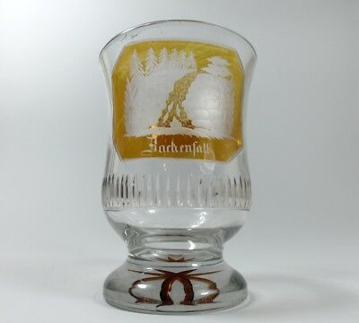 Mug Glass Stained,Hand Engraved, bachenfall, Around 1850 AL24