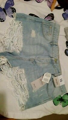 size 16 high waist denim shorts hotpants with lace  BNWT new by Denim  & Co