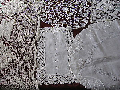 Lot of 5 Vintage Doilies Crocheted Embroidered Linen Eyelet Bobbin Lace