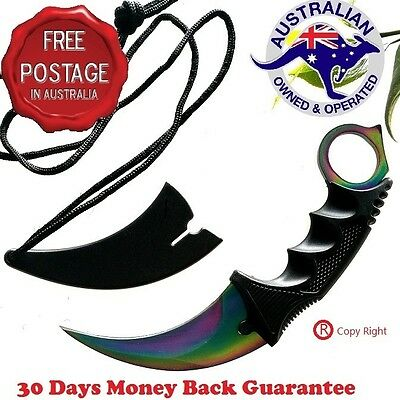 Outdoor Camping Hunting Knife Blade & Plastic Sheath Multi Colour