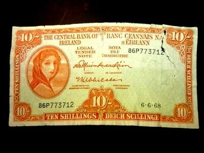 """IRELAND (10/-) TEN SHILLINGS """"LADY LAVERY"""" NOTE"""" Dated 6.6.68 ~ BIDS FROM 99p"""