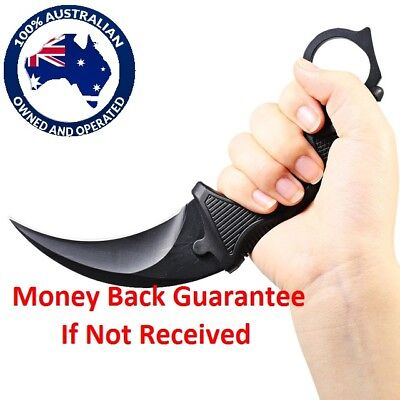 Outdoor Camping Hunting Knife Blade & Plastic Sheath  Black  Colour