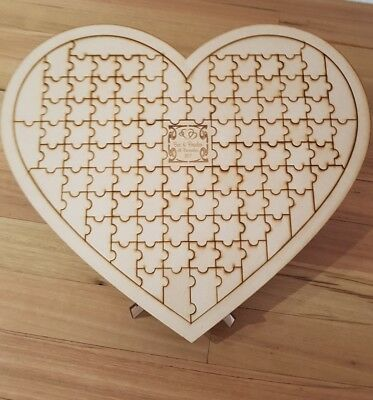 Guest book alternative heart jigsaw puzzle 100 pcs. Customized wedding Guestbook