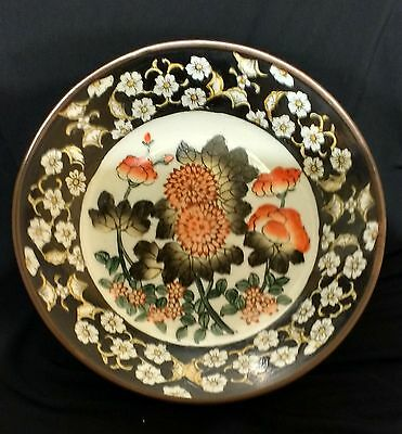 """Vintage ACD Porcelain hand-painted Flowers Decorative Bowl in Brass 8 7/8"""" China"""