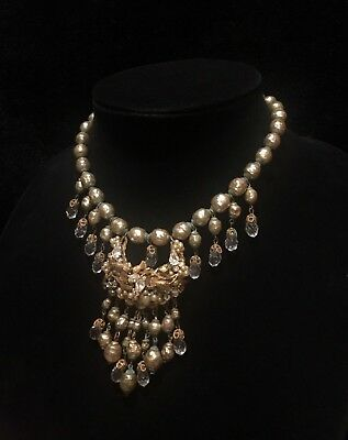 Gorgeous Early Baroque Miriam Haskell Necklace Crystal and Pearl Drop Crescent