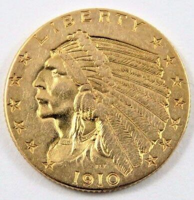 U.S.1910 $2.50 QUARTER EAGLE INDIAN HEAD GOLD COIN  900 GOLD  .2419 oz. SEE PICS