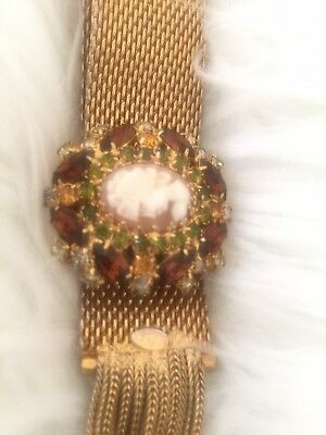 Dazzling Signed Hobe Vintage Topaz Cameo Bracelet Adjustable Pre-owned